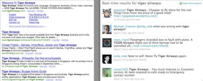 google v. twitter results for tiger airways